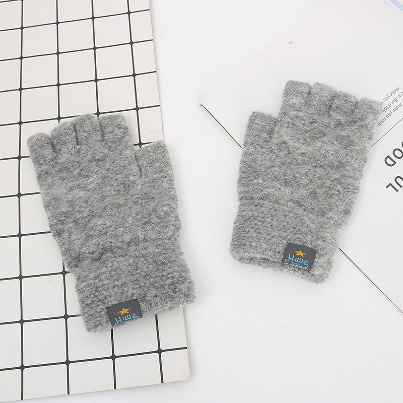 Men Winter Acrylic Wool Plus Plush Thick Jacquard Stretch Knit Warm Half Finger Mittens Sports Touch Screen Cycling Gloves C86