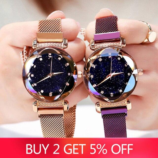 2019 New Luxury Women Watches Fashion Elegant Magnet Buckle Rose Gold Ladies Wristwatch Starry Sky Diamond Gift Quartz Clock 1