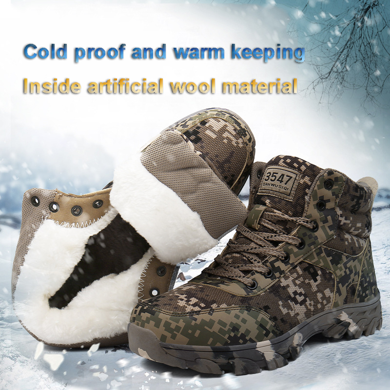 Winter with Fleece 2019 Warm Snow Boots Men Winter Camping Hiking Shoes Sneakers High Top Boots