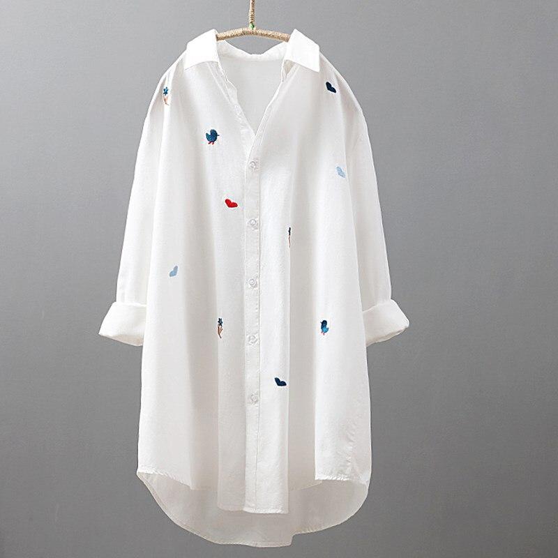 2019 printemps blanc broderie moyenne longues chemises femmes à manches longues col carré lâche chemise décontracté OL dame Blouse couverture en coton