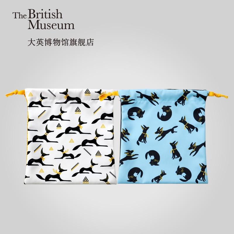 Creative Museum Travel Anubis Drawstring Bag Drawstring British Official Blue White INS Sporty Small