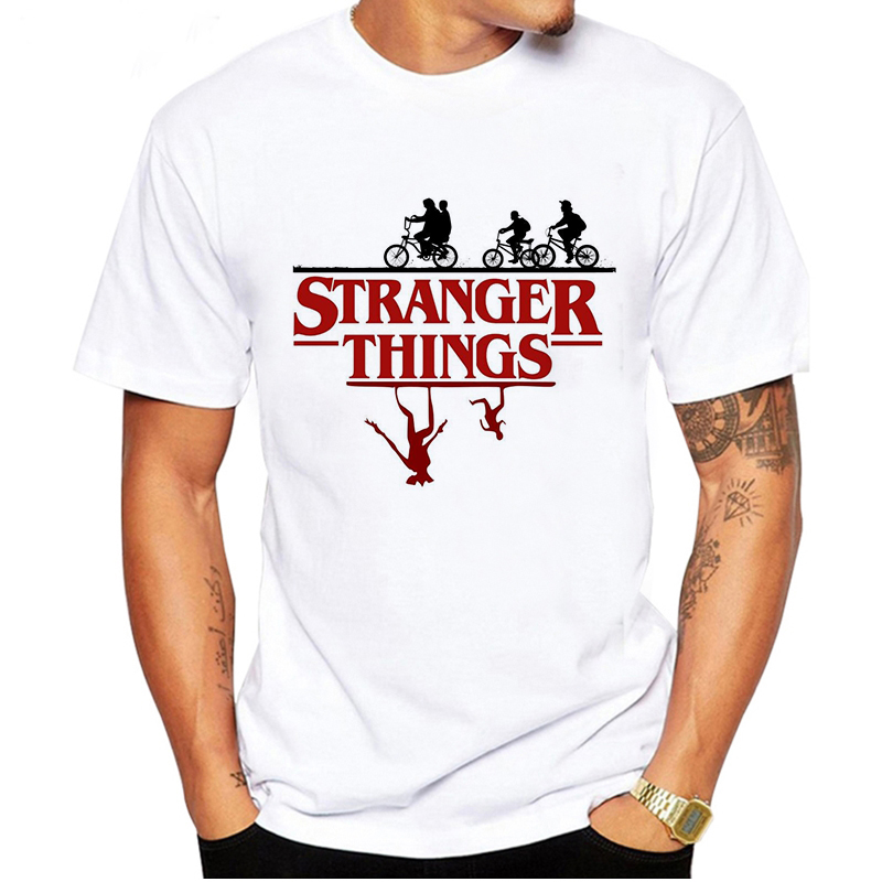LUSLOS Fashion Men's T-shirts Stranger Things Tshirt Men TV Shirts Casual White Vintage T-shirt 90's Streetwear Harajuku Tee Top