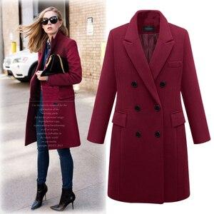 Image 1 - 2020 Autumn Winter Coat Women Straight Long Coat Wool Blend Jacket Elegant Burgundy Black Jacket Office Lady Coat MK 343
