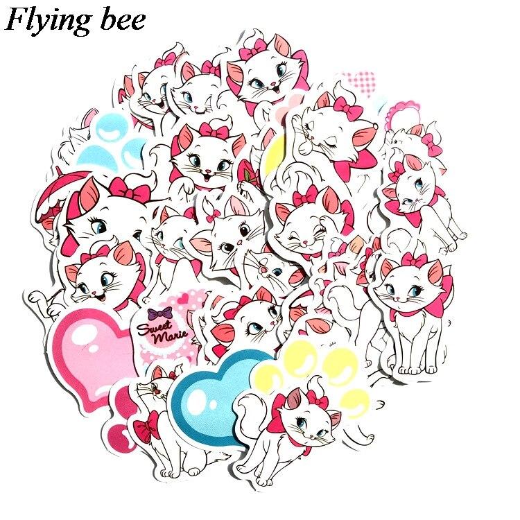 38 Flyingbee 38 יח מארי חתול kawaii אופנה מדבקה מדבקות Pvc רעיונות מדבקה עבור מחברת טלפון נייד DIY אביזרי X0712 (1)
