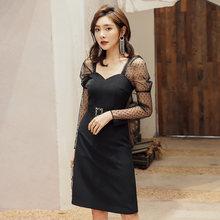 Черное платье с квадратным вырезом yigelila вечерние однотонные