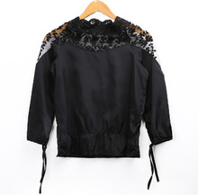 Summer women's wear 2019, spring Korean version of loose stitching lace blouse, seven-sleeved chiffon blouse fashion sexy jacket blouse 1207041 13