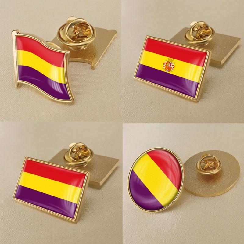 Espanha (1931-1939) bandeira civil da segunda república espanhola bandeira lapela pinos/broches/emblemas