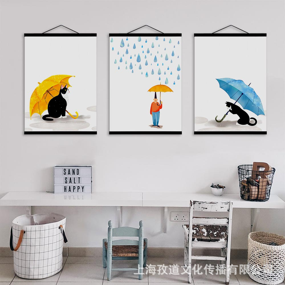 Mild Art Solid Wood Gua Zhou Hua Cute Watercolor Umbrella Black Cat Northern European-Style Living Room CHILDREN'S Room Decorati