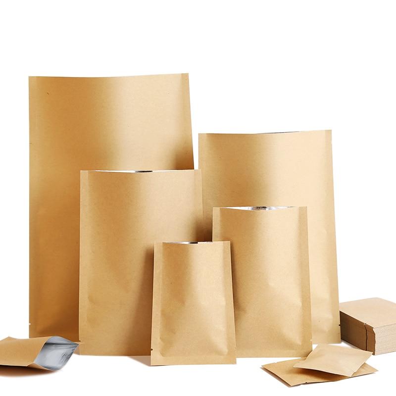 100 шт./лот крафт бумажный плоский мешок сделанный логотип напечатанный на заказ упаковывая мешки Подарочные сумки и упаковка      АлиЭкспресс