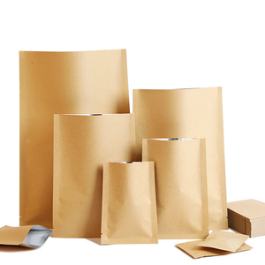 Pochettes plates en papier artisanal 100 pièces/lot   Sacs d'emballage personnalisés avec Logo imprimé
