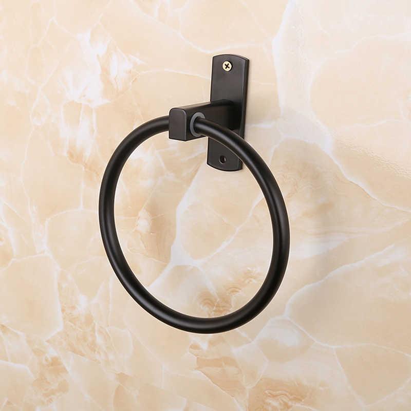 Toallero de estilo antiguo EUROPEO 16cm de diámetro pintura negra de aluminio soporte de anillo de toalla para la pared del baño