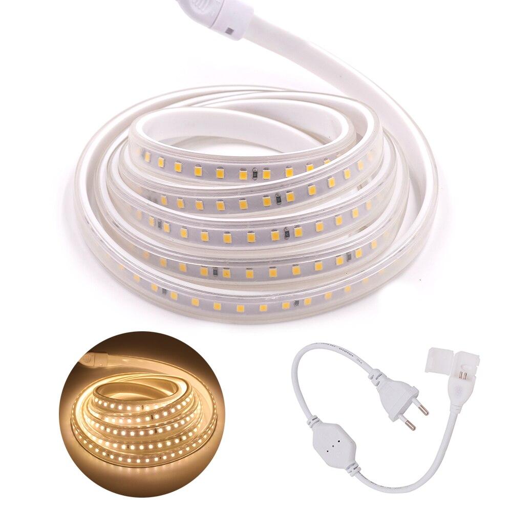 Tira de luces LED SMD 5050 2835 220V a prueba de agua Flexible cinta de luces de cuerda blanco frío con interruptor atenuador enchufe 1 M/2 M/5 M/10 M/15 M/20 M Tira LED RGB 5050 resistente al agua DC 12V 5M RGBW RGBWW tiras de luz LED Flexible con 3A de potencia y Control remoto