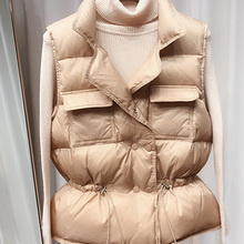 Short Vest Waistcoat Lightweight White-Duck-Down Ultra-Light Warm Women Sleeveless Female