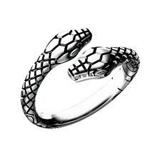 Anel de dedo do vintage anel de cobra de cabeça dupla para mulheres e homens das senhoras jóias unissex aberto ajustável tamanho animal anel homem
