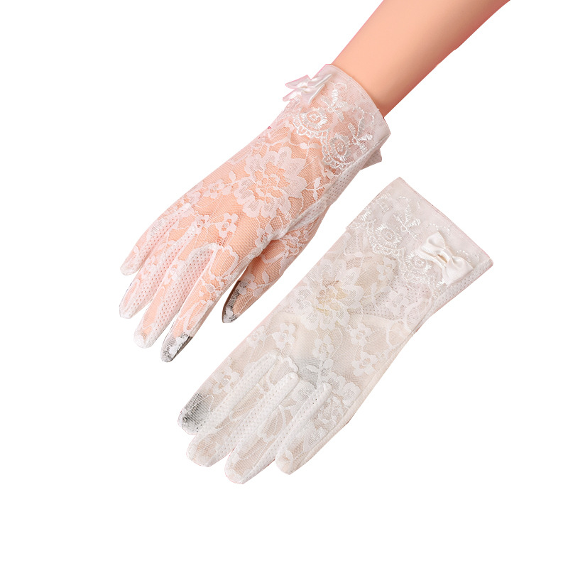 Sexy Summer Women UV Sunscreen Short Sun Screen Pearl Flowers Bow Gloves Thin Ice Silk Lace Touch Screen Lady Driving Gloves J55