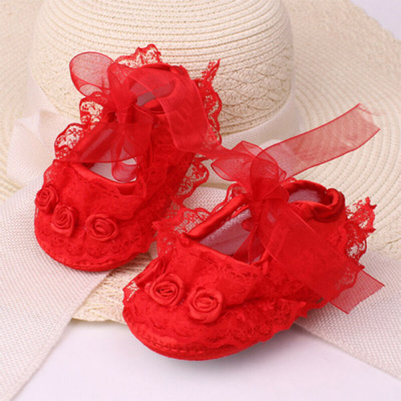 Cute Newborn Shoes Pink Red Lace Baby Girls Crib Shoes Toddler Birthday Party Home Prewalker Soft Non-Slip Crib Baby Girls Shoes
