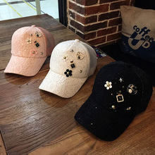 202003-mujiao-lace  Flower  Rhinestone mesh leisure lady VISORS cap   women baseball  hat