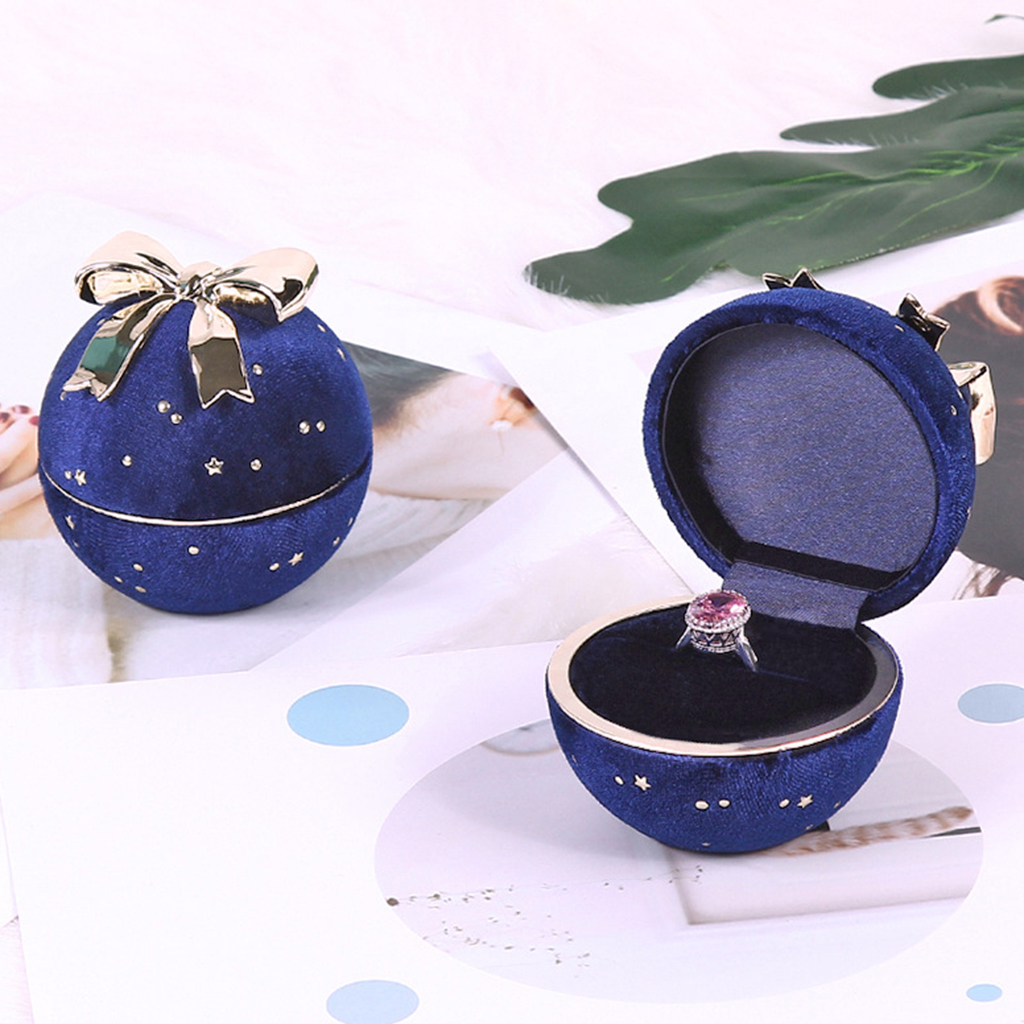 Premium Velvet Jewelry Box Bowknot Engagement Ring Necklace Display Holder