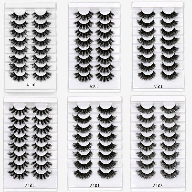 3D Mink Lashes 5/8/10 Pairs Natural False Eyelashes Fluffy Soft Wispy Volume Dramatic Long Cross Eyelash Extension Makeup 4