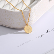 Engraved Cartoon sunshine Necklace For Women Cute Sun Gold stainless steel chain necklace Round Shaped Gifts Friends BFF