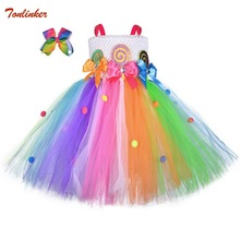 Halloween Girls Rainbow Tutu Dress Kids Tulle Dresses Flower Birthday Party Outfit for Toddler Cosplay Costume Headdress 2-12Yr fashion green and pink rainbow flower fairy costume for girls birthday cupcake layered dresses