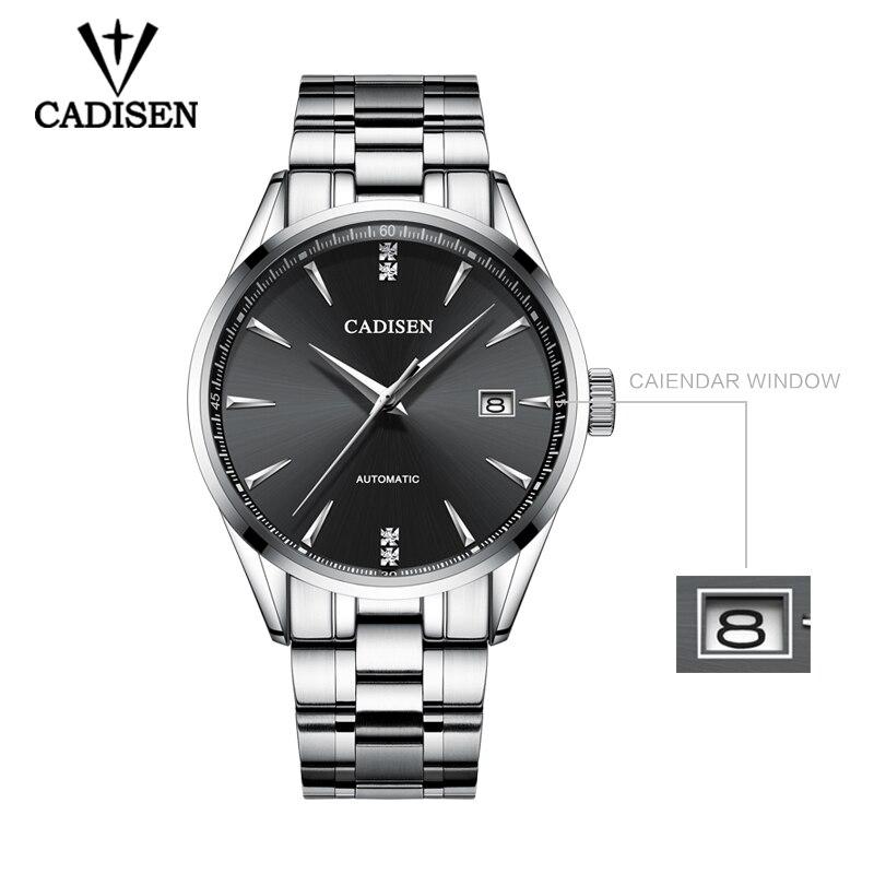Echt CADISEN Top Luxe Merk Mannen vol staal automatische mechanische mannelijke selfwind 50M waterdichte gebogen oppervlak ultradunne horloge-in Mechanische Horloges van Horloges op  Groep 3