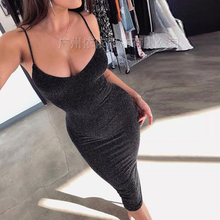 Spring and summer new style European American explosions bag hip slim suspender dress Sexy open back midi