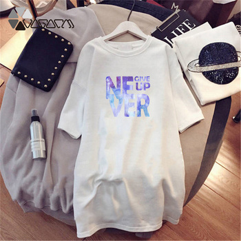 Women Dresses NEVER Series Letter Plus Size Black Mini Dress Loose Summer Long T Shirt Casual Clothes Femme Tops White Sukienka 105