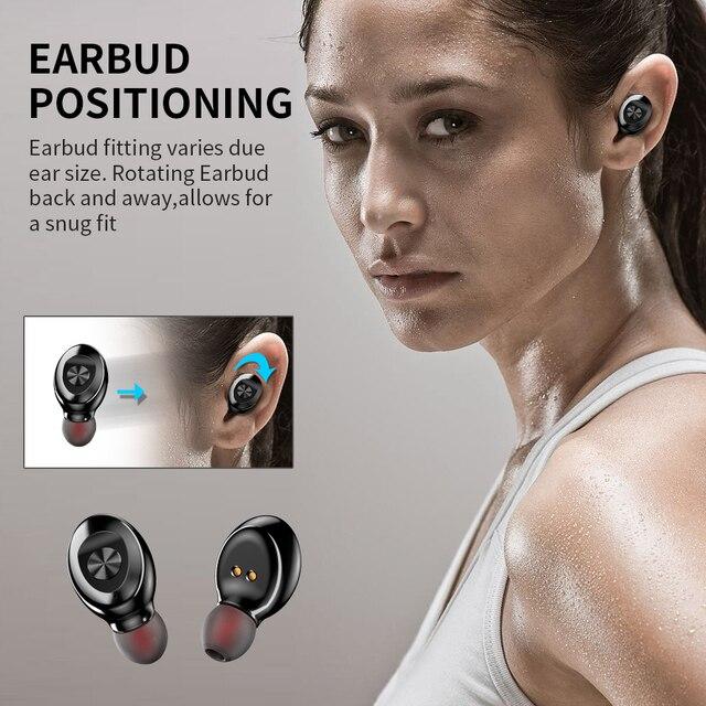Bluetooth Earphone Wireless headphone Sport Earpiece Mini Headset Stereo Sound  In Ear IPX5 Waterproof tws 5.0   power display 4
