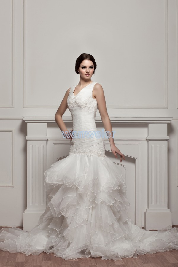 Free Shipping 2017 New Design Custom Actual Images Bridal Gown Good Quality White/ivory Organza V-neck Mermaid Wedding Dress