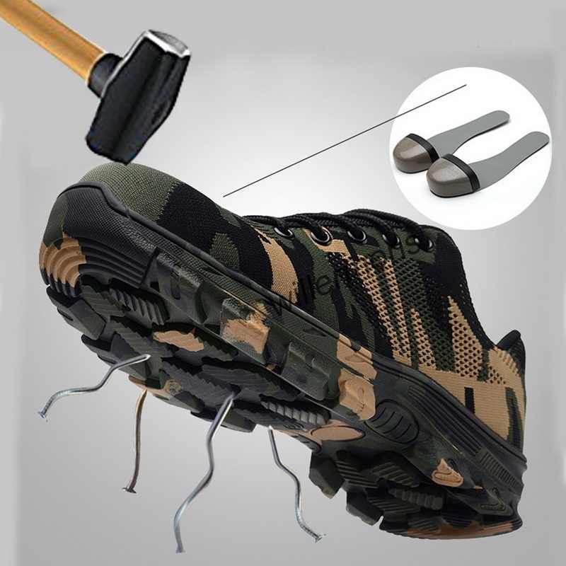 작업 부츠 건설 남자 야외 강철 발가락 모자 신발 남자 위장 펑크 증거 고품질 안전 플러스 크기
