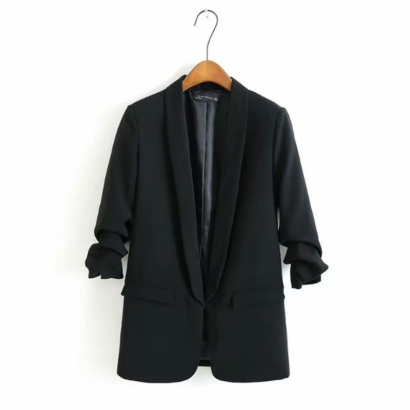 2020 new ladies blazer Spring and summer casual mid-length jacket small suit feminine Fashion pleated sleeve women's small suit