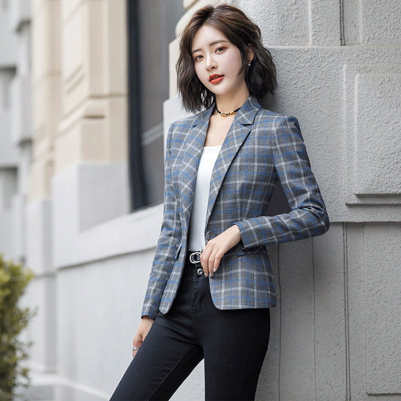 Spring And Summer New Slim Women Jacket Suit Female New Full Sleeve One Button Plaid Ladies Blazer High Quality Office Suit Top