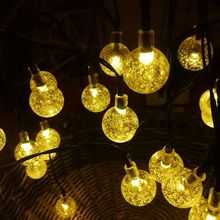 5M LED String Fairy Crystal Ball Air Bubble Flower Solar Garden Lights String Bulb Lamp Power For Christmas Outdoor Decorative