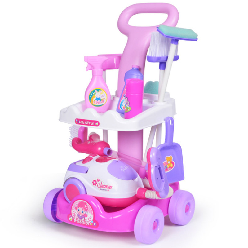 HOT 1 Pcs/Set Pretend Play Toy Simulation Vacuum Cleaner Cart Cleaning Dust Tools Baby Kids Play House Doll Accessories Toy
