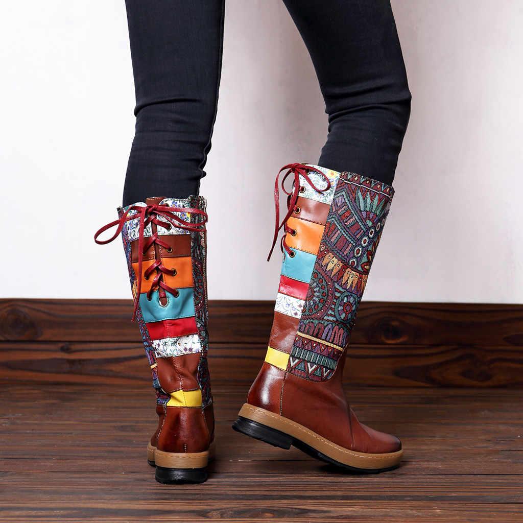 Nữ Cổ Ren Thêu Giày Nối Hoa Văn Bằng Phẳng Phong Cách Bohemian Đầu Gối Giày Thấp Gót Giày Đầu Gối Cao Người Phụ Nữ Thiết Kế Giày