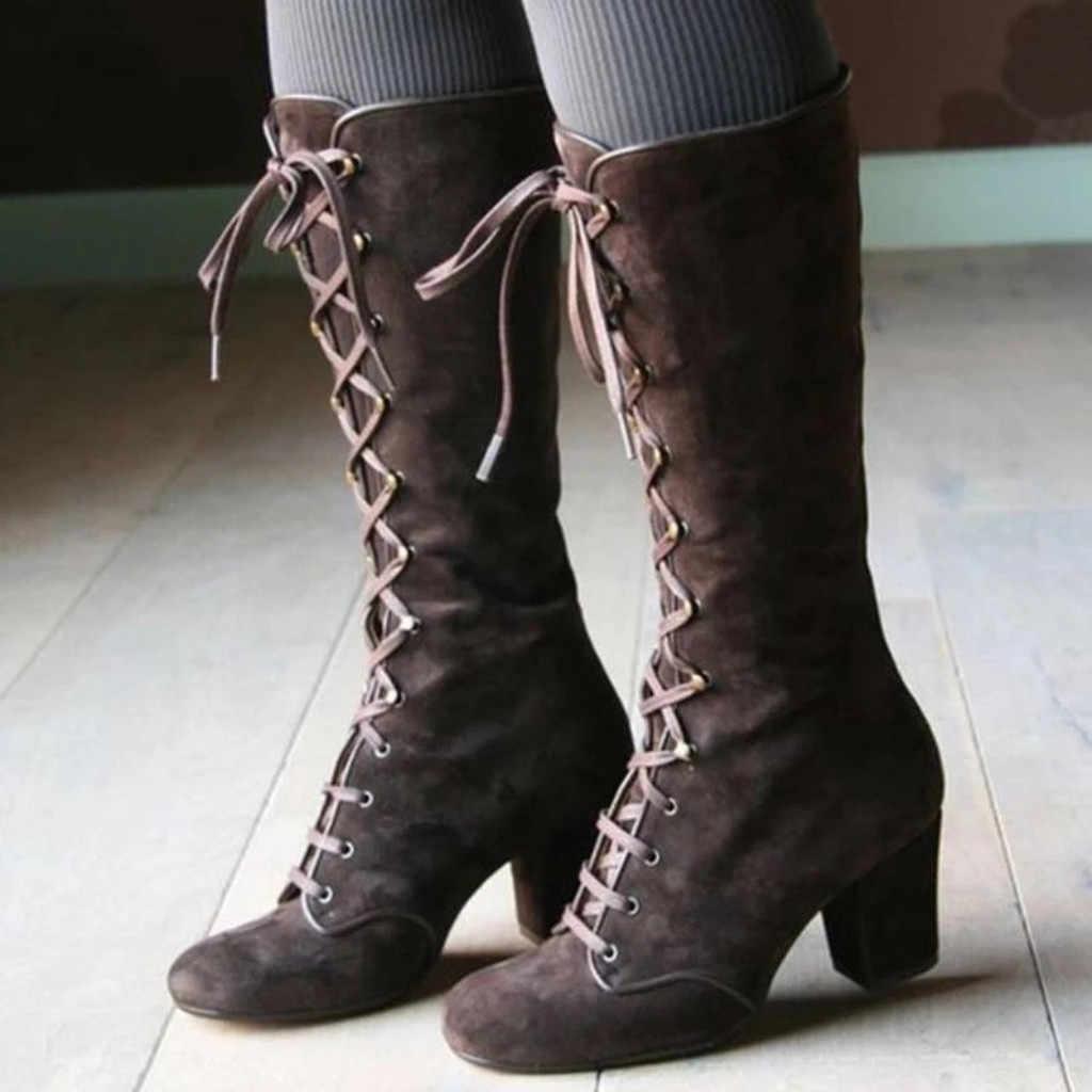 Sonbahar kış ayakkabı kadınlar Vintage bağcıklı orta çizmeler yuvarlak ayak kovboy tarzı yüksek topuklu ayakkabı diz yüksek çizmeler t2