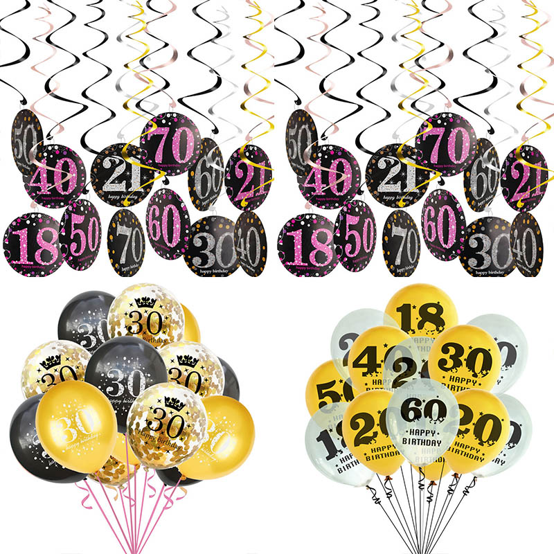 Happy <font><b>Birthday</b></font> 30/50/<font><b>60th</b></font> Confetti Ceiling Hanging Swirl <font><b>Decoration</b></font> <font><b>Birthday</b></font> Number Latex Confetti Balloons Anniversary Party Supplies image