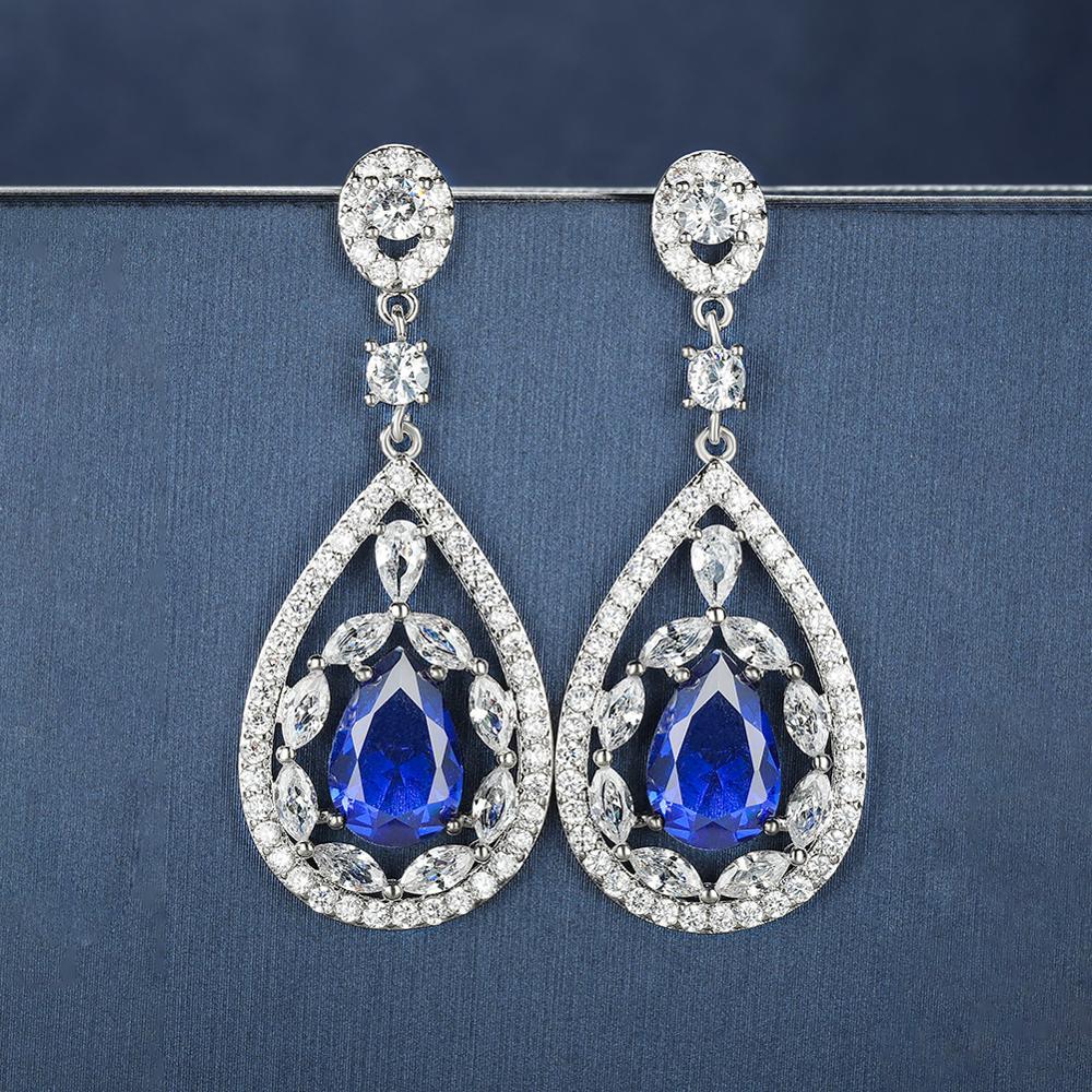 Bohemian Crystal Water Drop Dangle Earrings For Women White Gold Blue Yellow Purple Zircon Stone Luxury Bridal Wedding Earrings