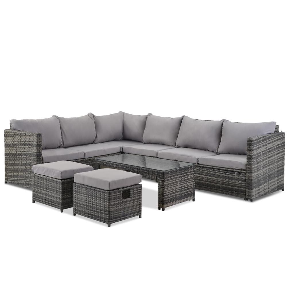 Garden Corner Sofa Set 8 Seater Rattan Sofa Outdoor Furniture With Coffee Table 2 Stools Waterproof Enjoy Life At Home