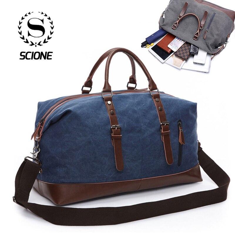 Scione Men Canvas Travel Shoulder Luggage Bags Large Capacity Handbag Business Casual Vintage Leather Simple Tote Bag For Men