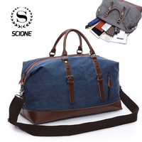 Scione Men Canvas Travel Shoulder Luggage Bags Large Capacity Handbag Business Casual Vintage Leather Simple Tote Bag For Men