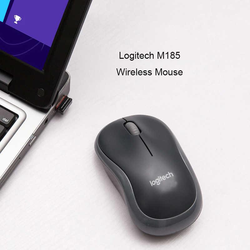 Asli Logitech M185 Wireless Mouse 1000 Dpi Komputer Kantor USB Nano Receiver Untuk Laptop Desktop PC Rumah & Kantor Game tikus