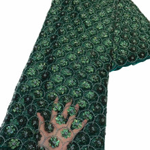 Lace-Fabric Dress Embroidery Sequins Handmade French Green Anna High-Quality African