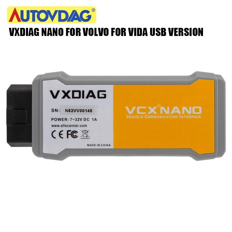 Narzędzie diagnostyczne do samochodów OBD2 VXDIAG VCX NANO do Volvo Dice Pro Vida do Volvo USB lepsze niż kości 2014D kompatybilne z SAE J2534