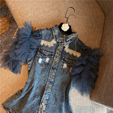 Denim Jean Blouse Women Spring and Summer New Mesh Sleeve Short Sleeve Denim Shirt Female Ladies Tops Blusas Mujer 2020