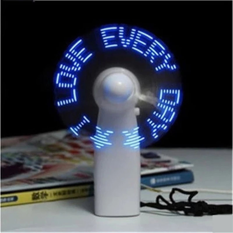 Mini USB Rechargeable Electric Table Fan Colorful Handheld Programmable Led Message Fan