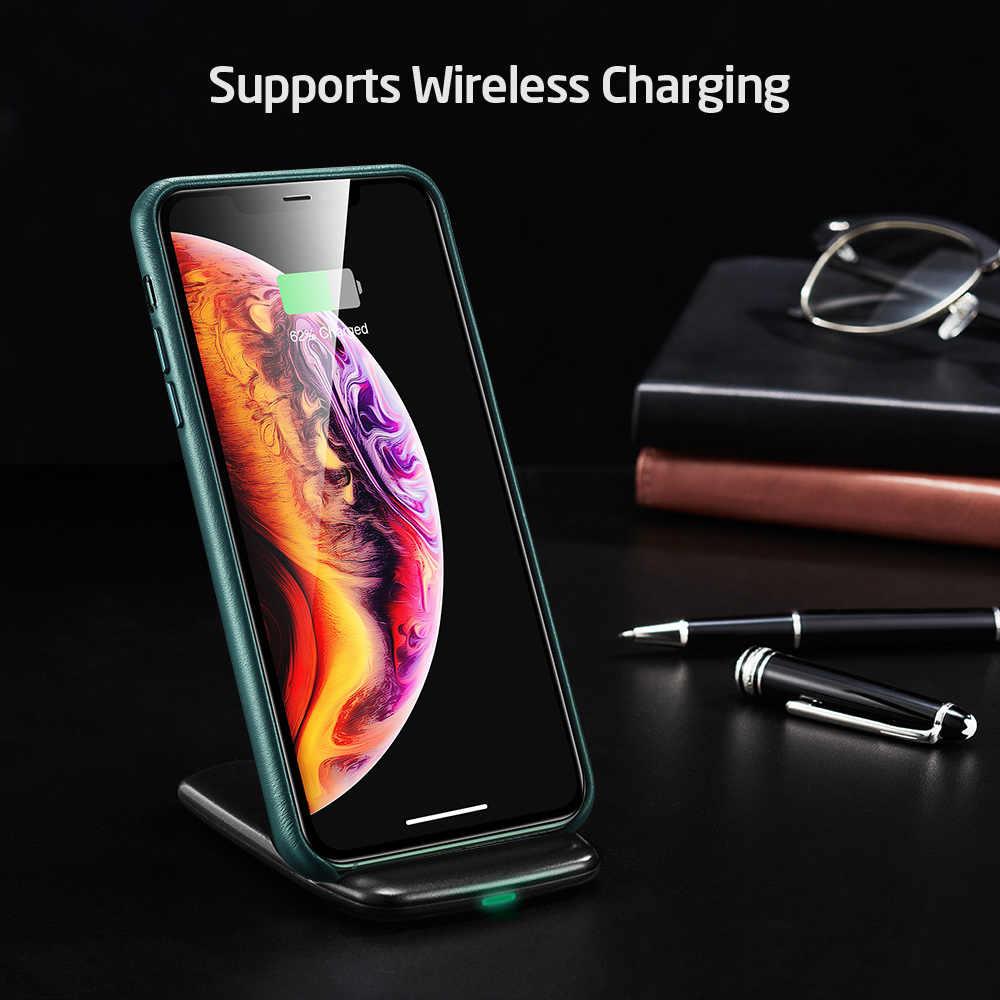 ESR สำหรับ iPhone 11 PRO MAX หนังยี่ห้อสีดำหนังแท้สีเขียวสำหรับ iPhone 11 2019 11pro