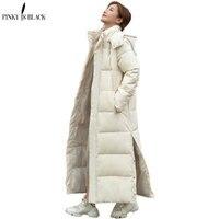 PinkyIsBlack 2021 Neue X-lange Mit Kapuze Parkas Mode Winter Jacke Frauen Casual Dicken Unten Baumwolle Winter Mantel Frauen Warme outwear