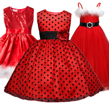 Baby Girl Polka Dots Dress For Girls Flower Wedding Party Dresses Kids Princess Christmas Dress Halloween Wear Children Clothing